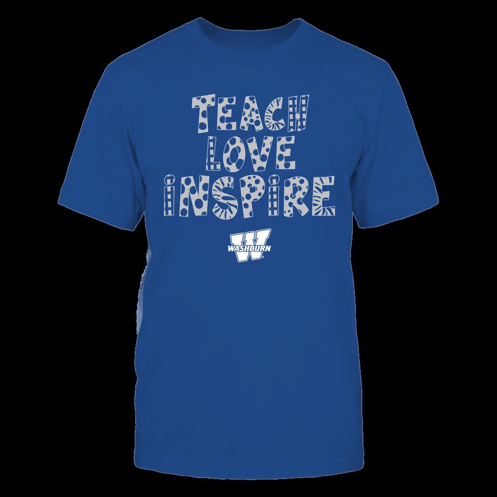 Washburn Ichabods - Teacher - Teach Love Inspire - Doodle Pattern Front picture