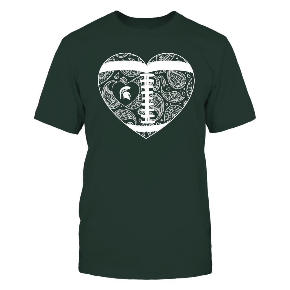 Michigan State Spartans - Football Heart - Paisley Pattern - Team Front picture
