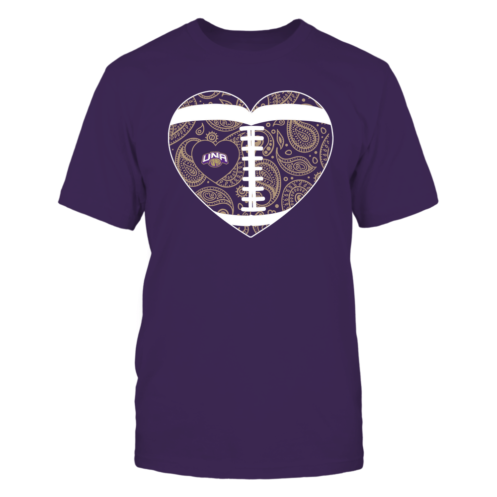 North Alabama Lions - Football Heart - Paisley Pattern - Team Front picture