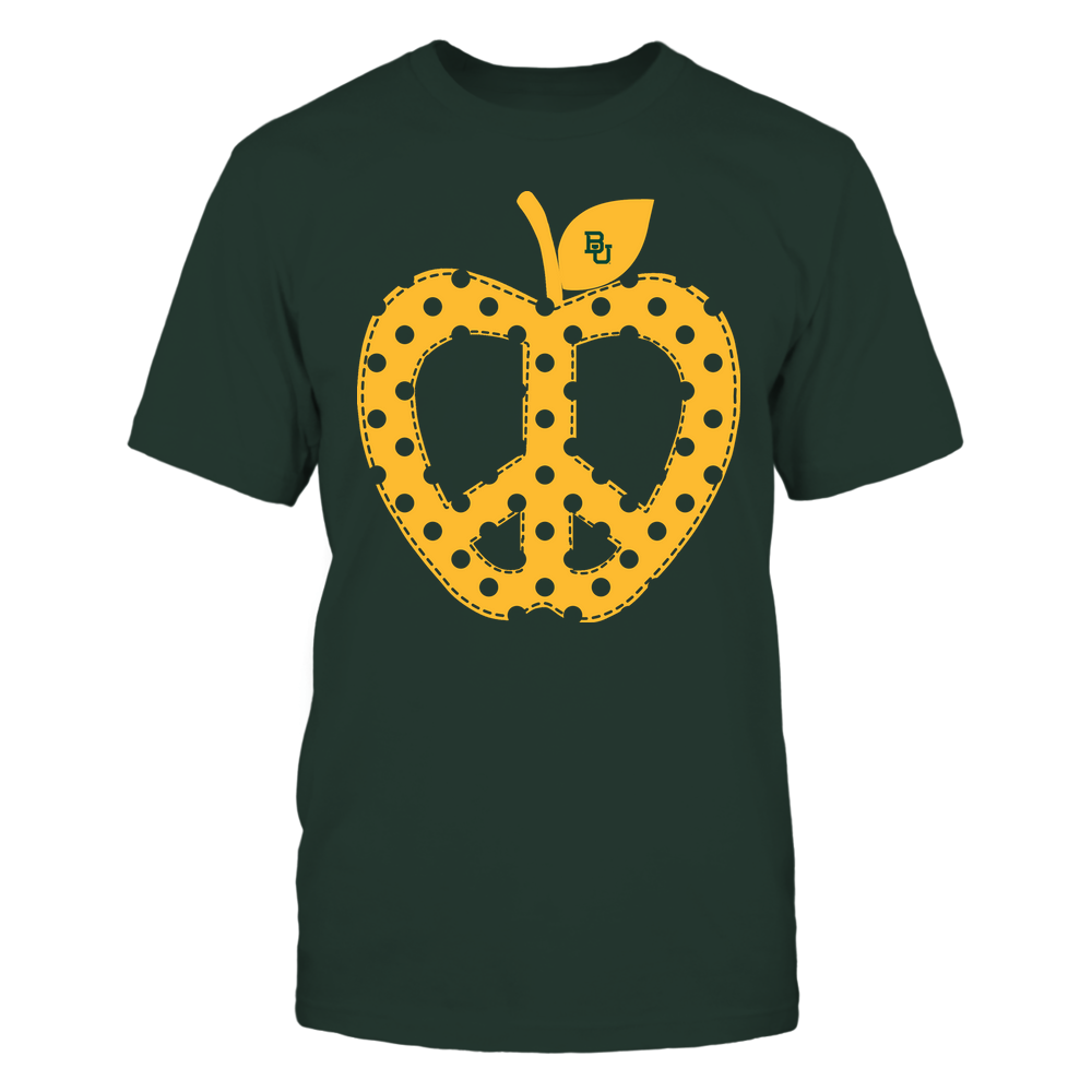 Baylor Bears - Teacher - Teach Peace - Apple Peace Sign Front picture