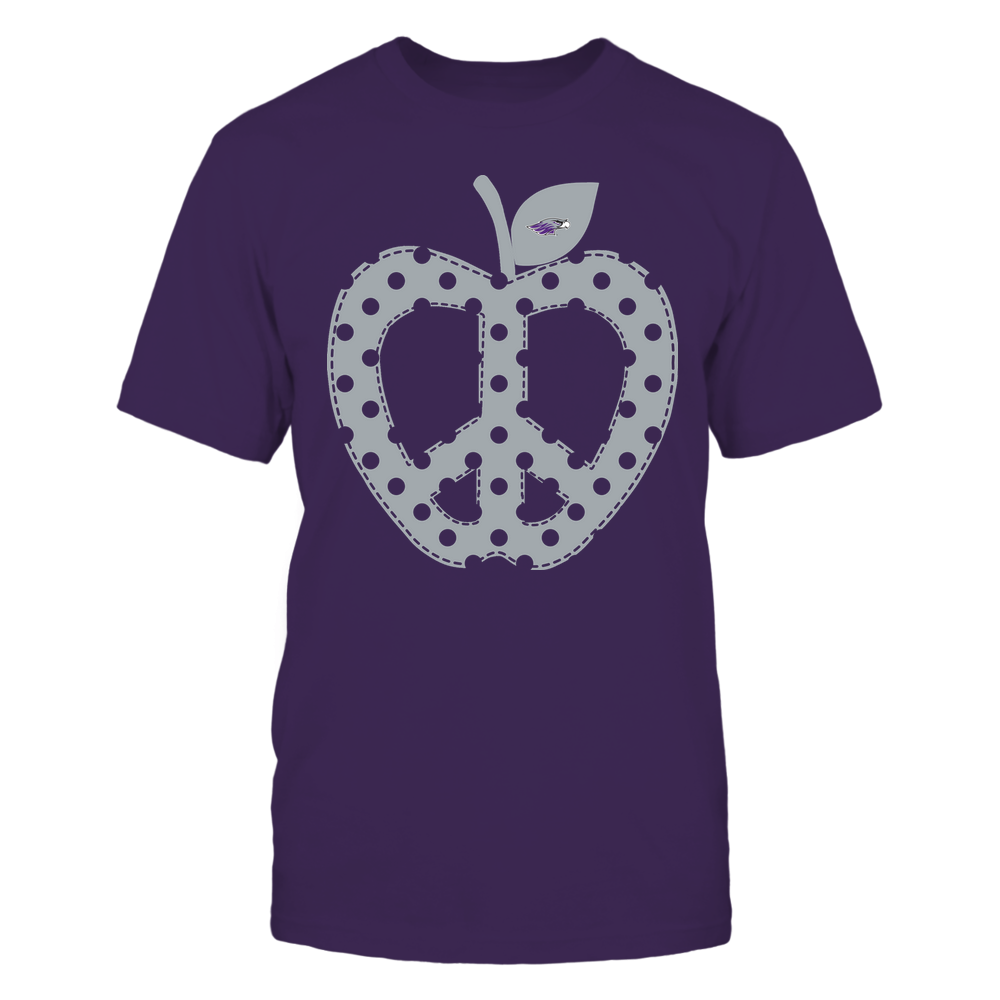 Wisconsin-Whitewater Warhawks - Teacher - Teach Peace - Apple Peace Sign Front picture