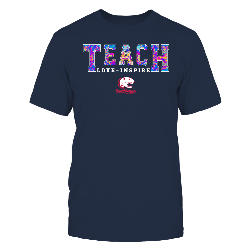 South Alabama Jaguars - Teacher - Teach Love Inspire - Rainbow Swirl - Team Front picture