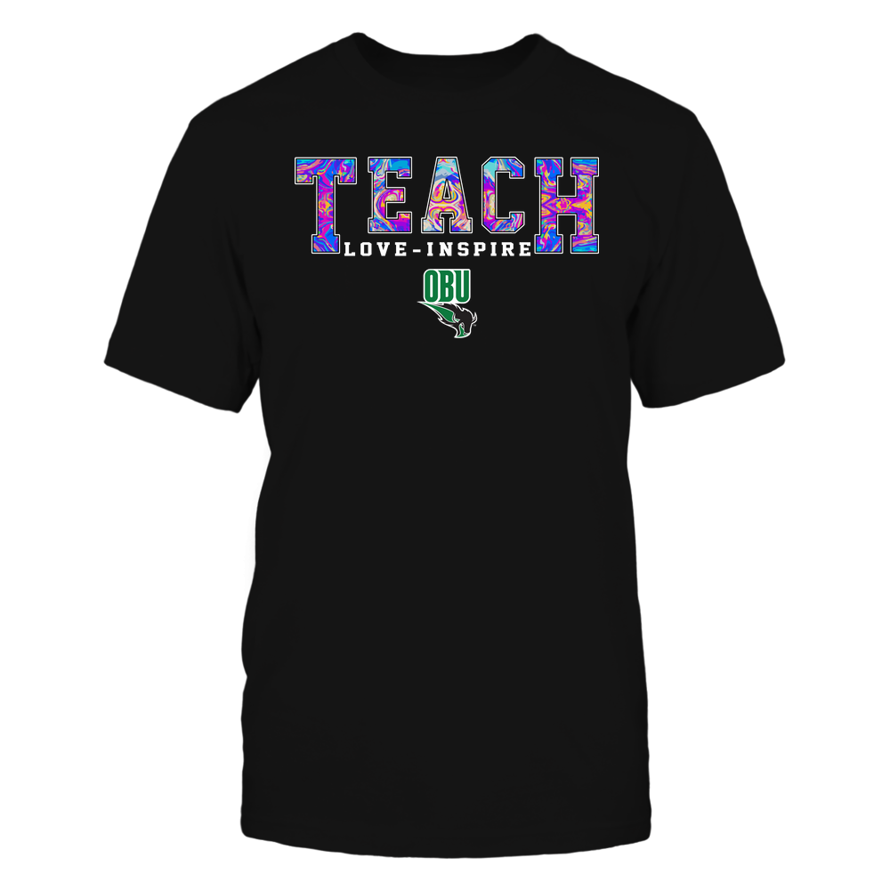 Oklahoma Baptist Bison - Teacher - Teach Love Inspire - Rainbow Swirl - Team Front picture