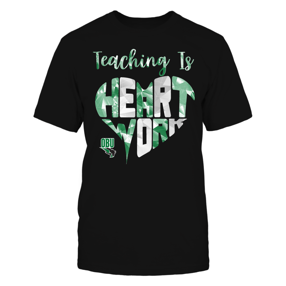 Oklahoma Baptist Bison - Teaching Is Heart Work - Galaxy Pattern - Teacher Front picture