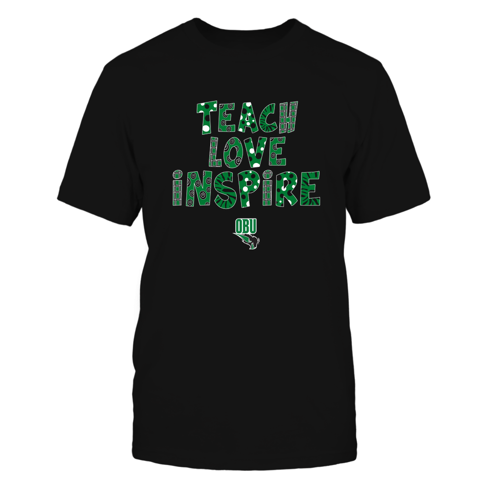 Oklahoma Baptist Bison - 19101410262 - Teacher - Teach Love Inspire - Doodle Pattern - APCX - IF13-IC13-DS27 Front picture
