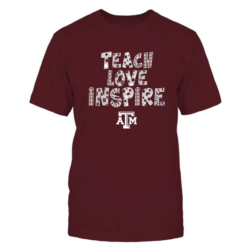 Texas A&M Aggies - 19101410262 - Teacher - Teach Love Inspire - Doodle Pattern - APCX - IF13-IC13-DS27 Front picture