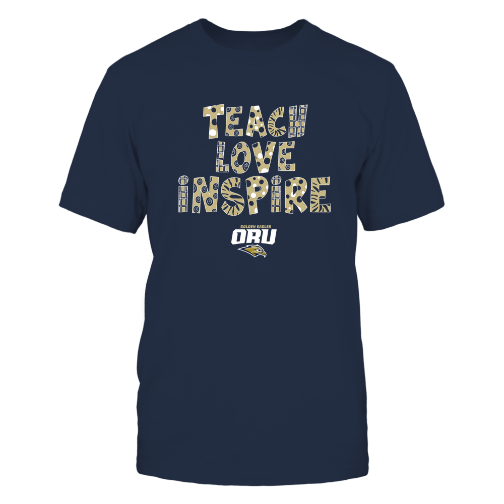 Oral Roberts Golden Eagles - 19101410262 - Teacher - Teach Love Inspire - Doodle Pattern - APCX - IF13-IC13-DS27 Front picture