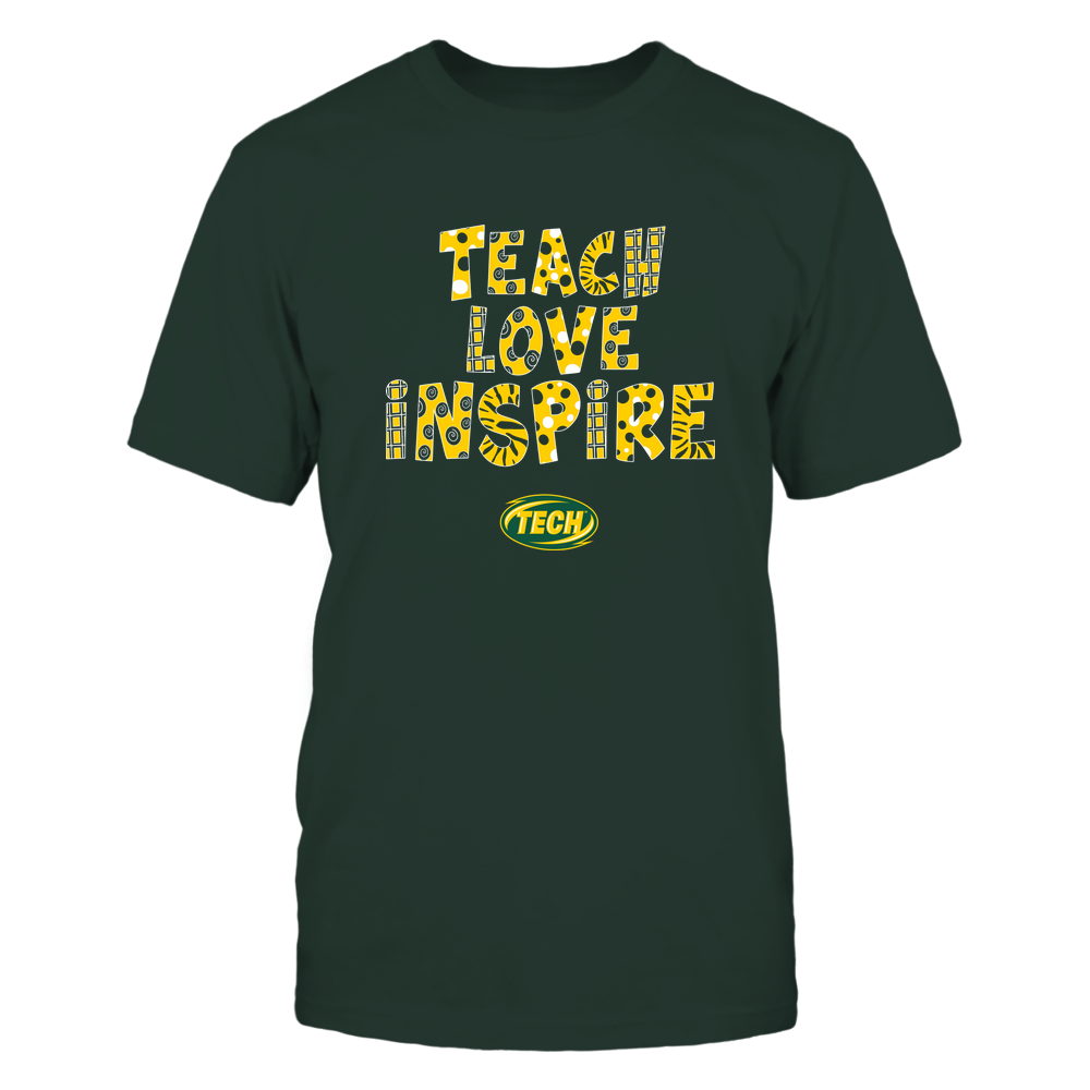 Arkansas Tech Golden Suns - 19101410262 - Teacher - Teach Love Inspire - Doodle Pattern - APCX - IF13-IC13-DS27 Front picture