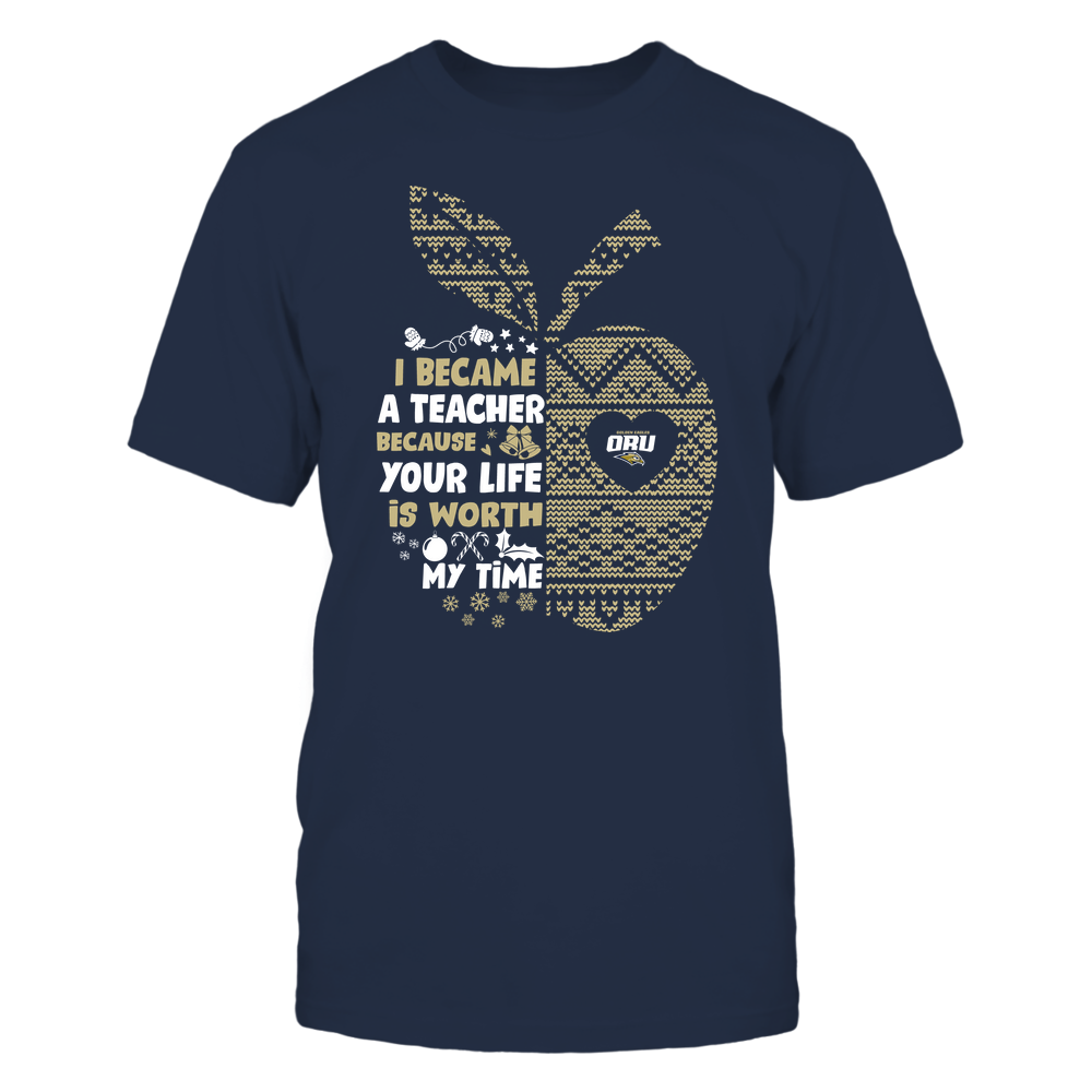 Oral Roberts Golden Eagles - Teacher - I Became A Teacher Because Your Life Is Worth My Time - Ugly Sweater Pattern - Team Front picture