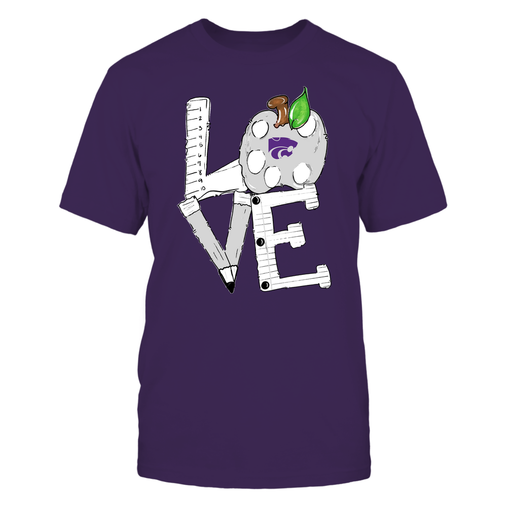 Kansas State Wildcats - Teacher - Hand Drawn Stacked Love - Team Front picture