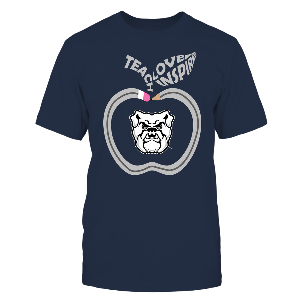 Butler Bulldogs - Teacher - Teach Love Inspire Pencil Apple - Team Front picture