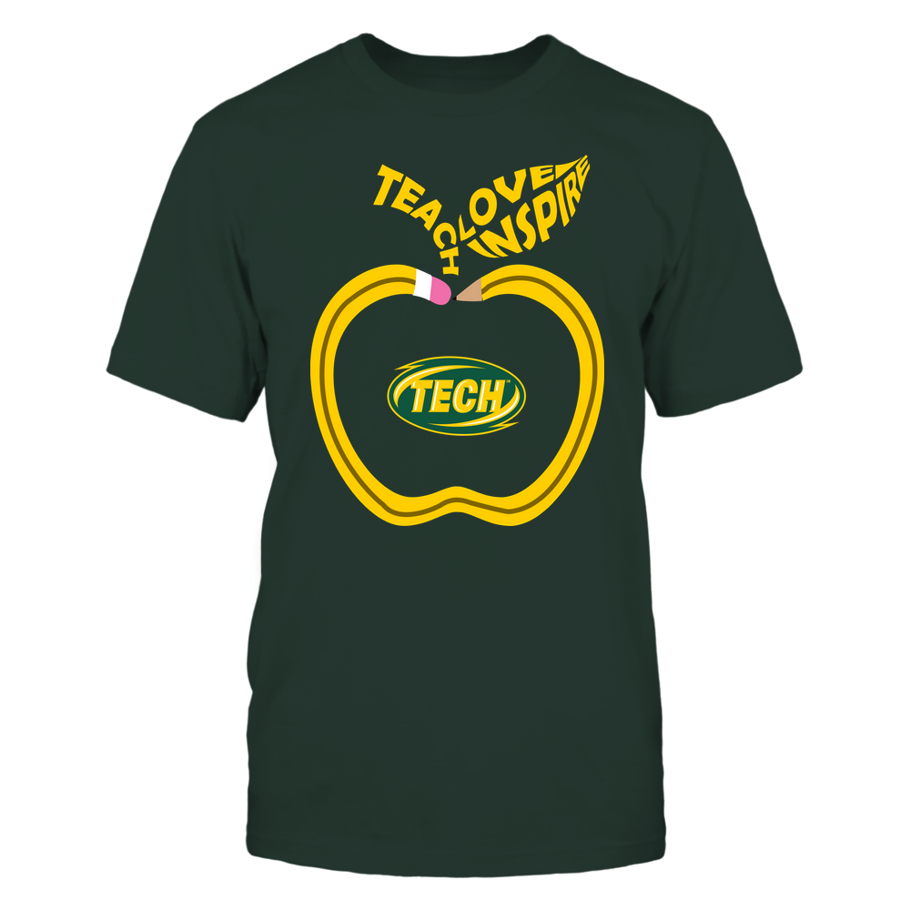 Arkansas Tech Golden Suns - Teacher - Teach Love Inspire Pencil Apple - Team Front picture