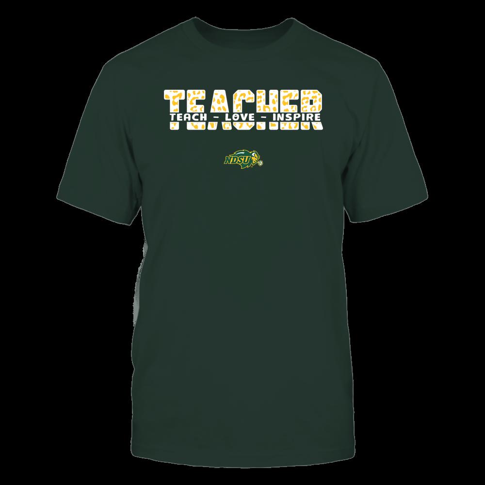 North Dakota State Bison - Teacher - Teach Love Inspire Cut Through - Leopard Pattern Front picture