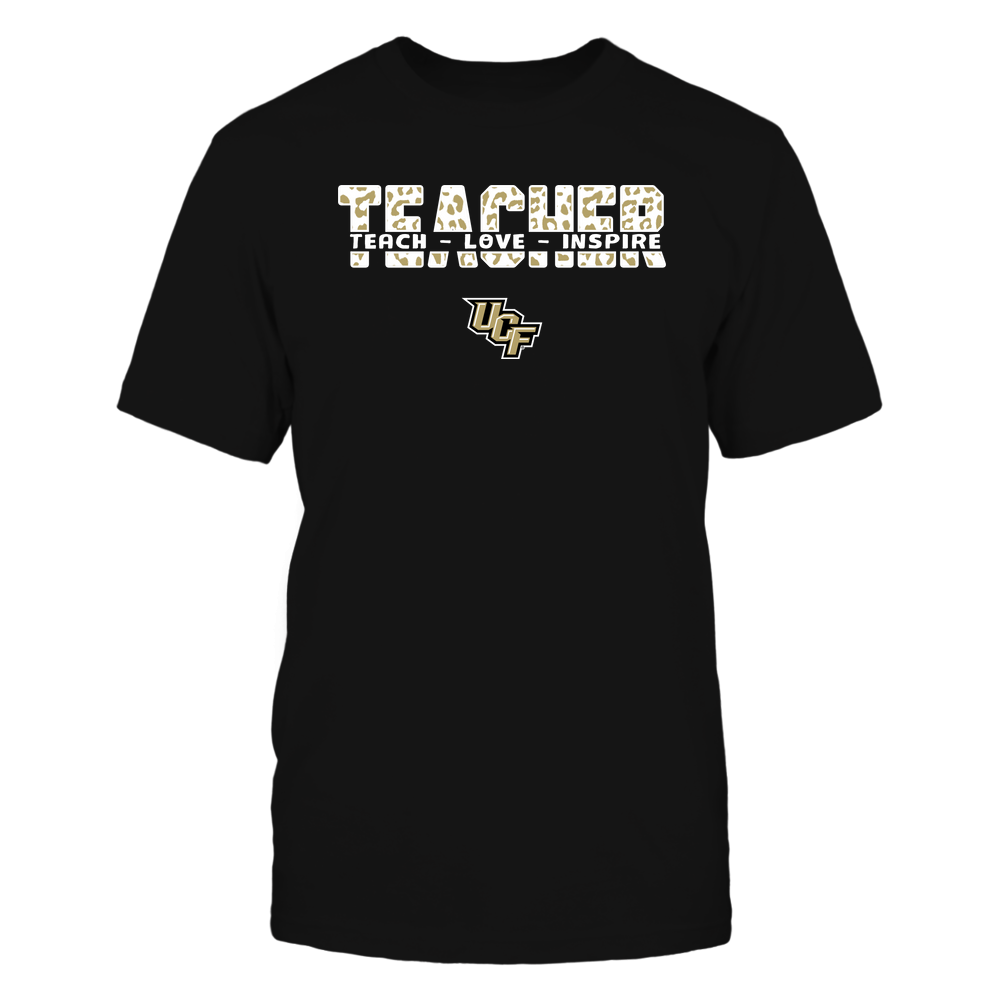 UCF Knights - Teacher - Teach Love Inspire Cut Through - Leopard Pattern Front picture