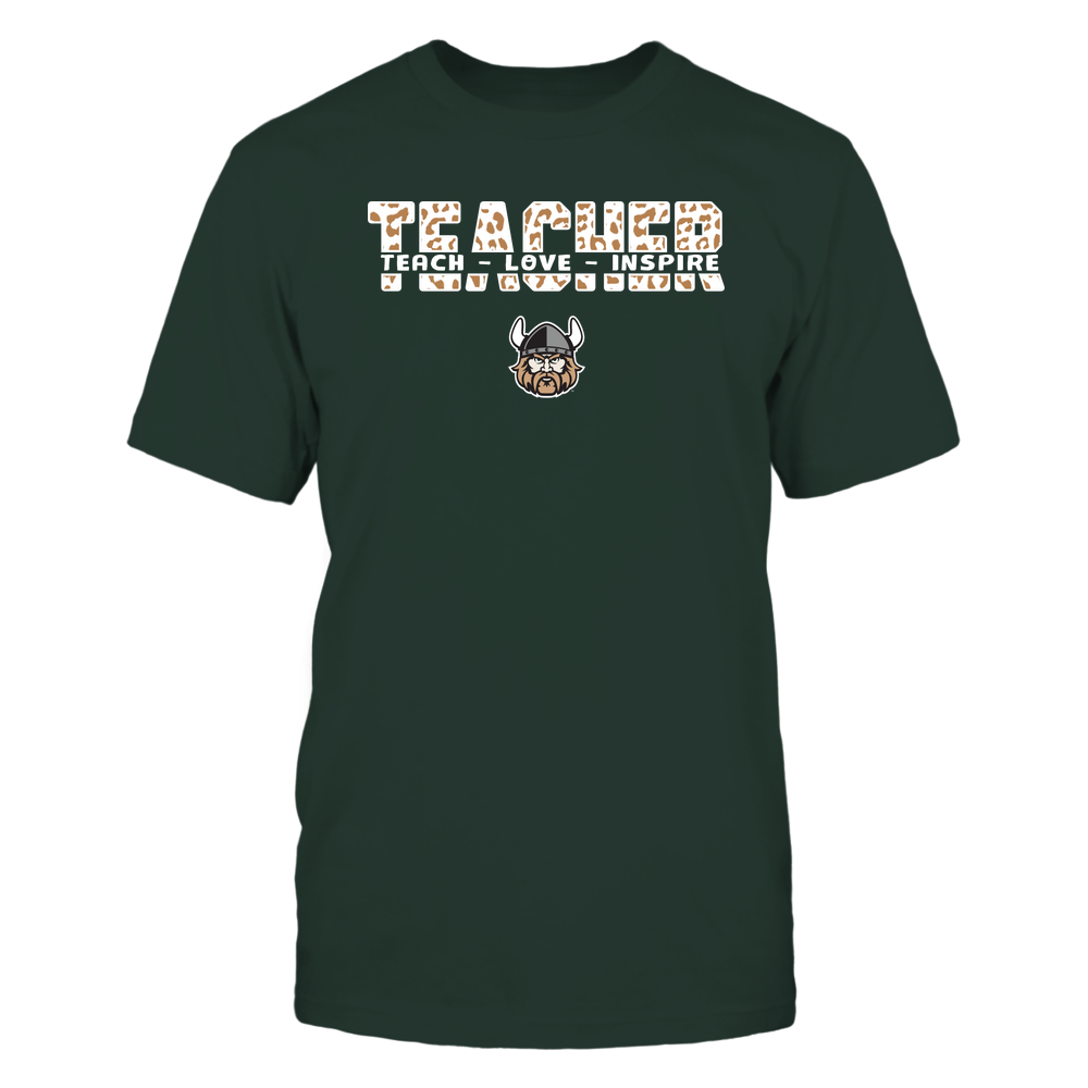 Cleveland State Vikings - Teacher - Teach Love Inspire Cut Through - Leopard Pattern Front picture
