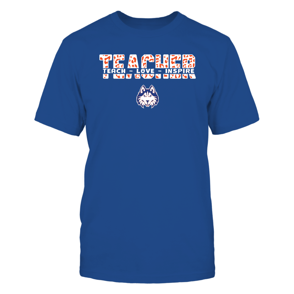 Houston Baptist Huskies - Teacher - Teach Love Inspire Cut Through - Leopard Pattern Front picture