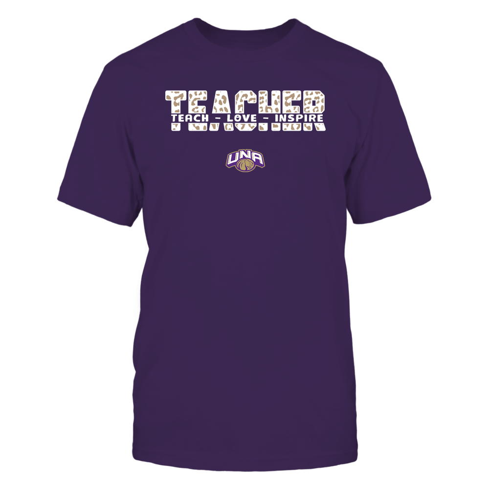 North Alabama Lions - Teacher - Teach Love Inspire Cut Through - Leopard Pattern Front picture