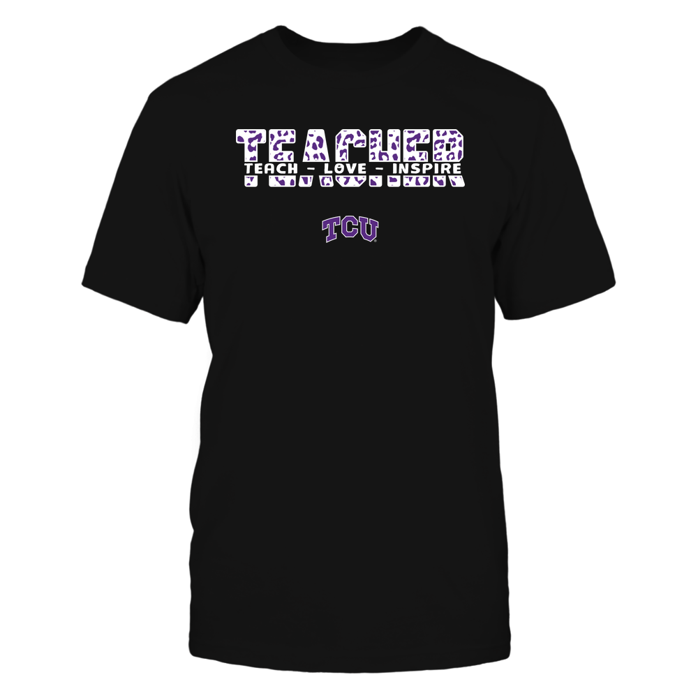TCU Horned Frogs - Teacher - Teach Love Inspire Cut Through - Leopard Pattern Front picture