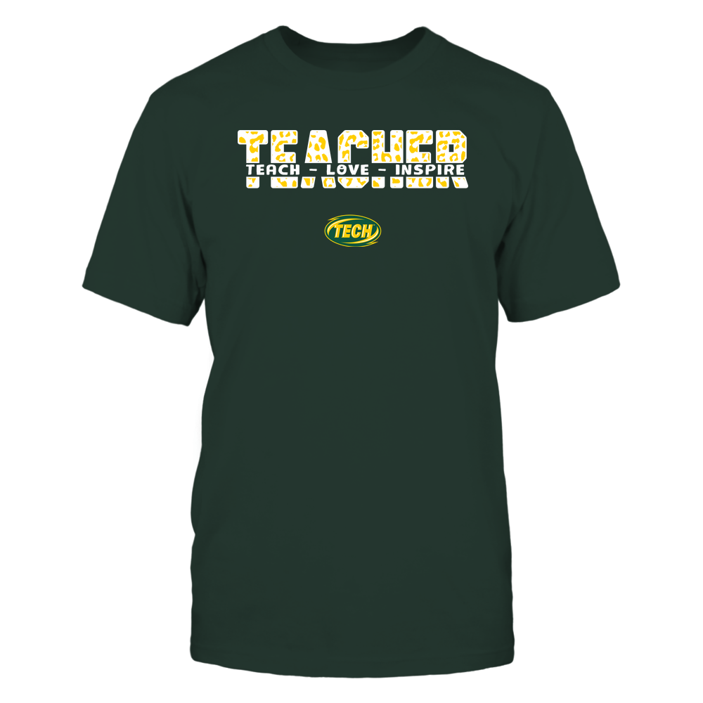 Arkansas Tech Golden Suns - Teacher - Teach Love Inspire Cut Through - Leopard Pattern Front picture
