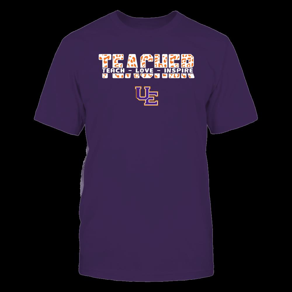 Evansville Purple Aces - Teacher - Teach Love Inspire Cut Through - Leopard Pattern Front picture