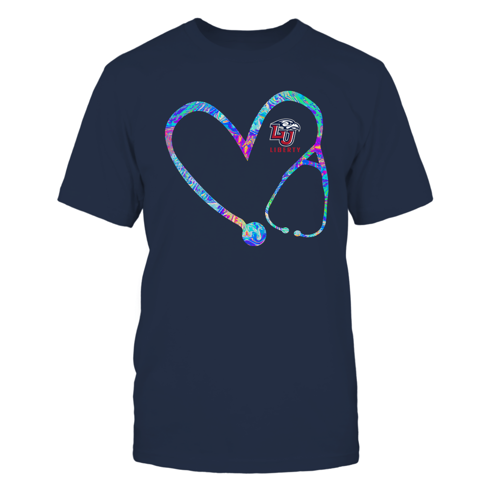 Liberty Flames - Nurse - Stethoscope Heart - Rainbow Swirl Front picture