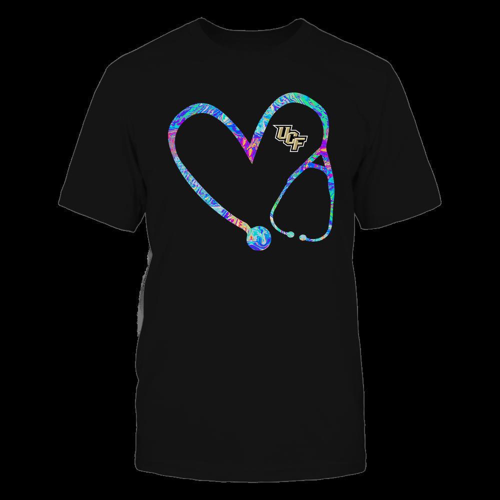 UCF Knights - Nurse - Stethoscope Heart - Rainbow Swirl Front picture