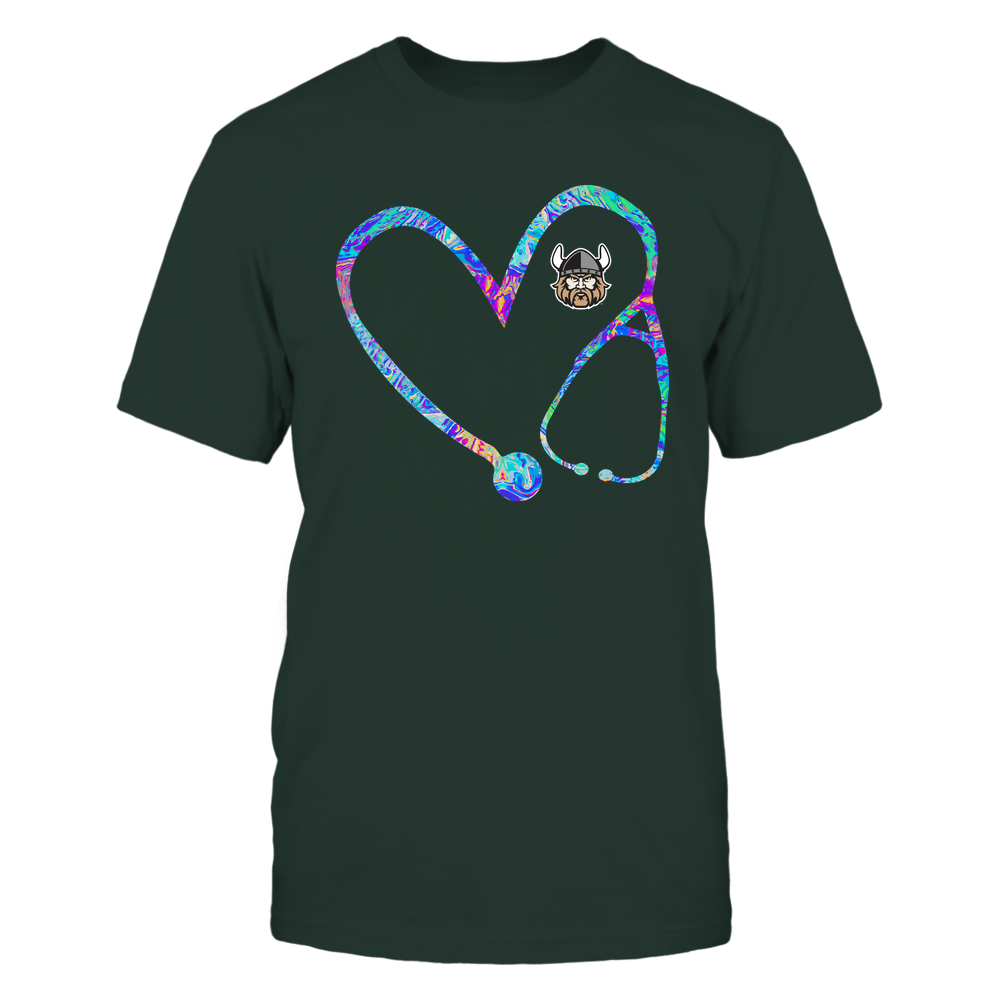 Cleveland State Vikings - Nurse - Stethoscope Heart - Rainbow Swirl Front picture