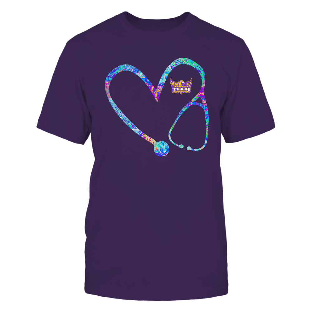 Tennessee Tech Golden Eagles - Nurse - Stethoscope Heart - Rainbow Swirl Front picture