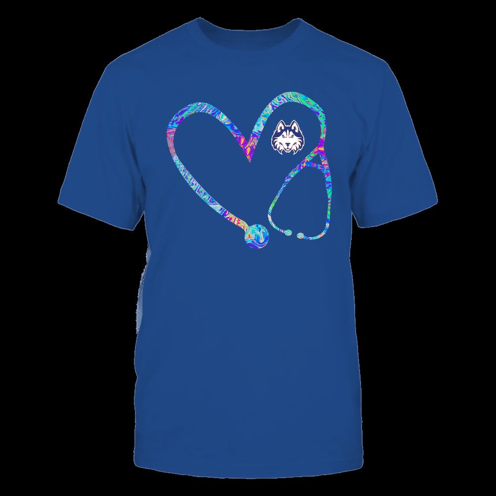 Houston Baptist Huskies - Nurse - Stethoscope Heart - Rainbow Swirl Front picture