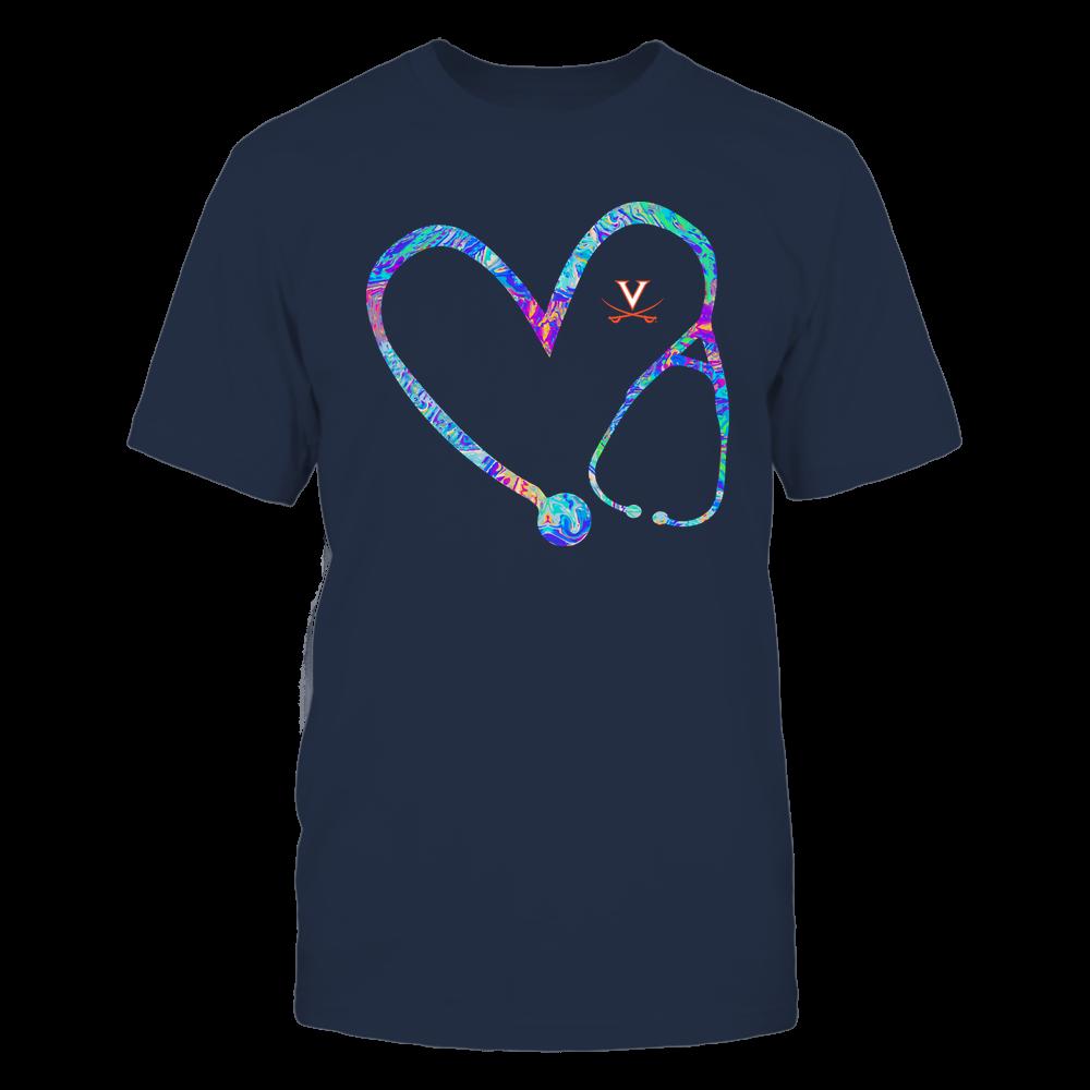 Virginia Cavaliers - Nurse - Stethoscope Heart - Rainbow Swirl Front picture