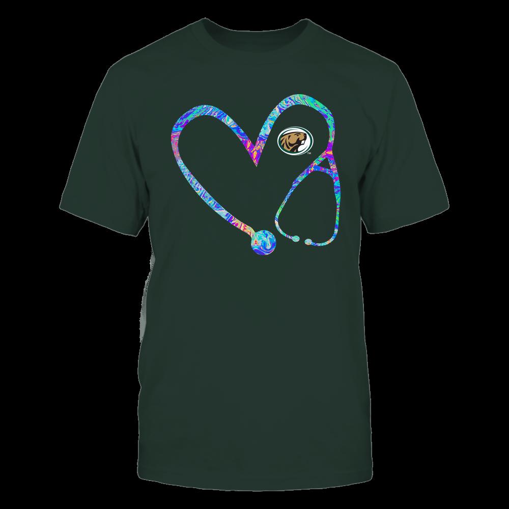 Bemidji State Beavers - Nurse - Stethoscope Heart - Rainbow Swirl Front picture