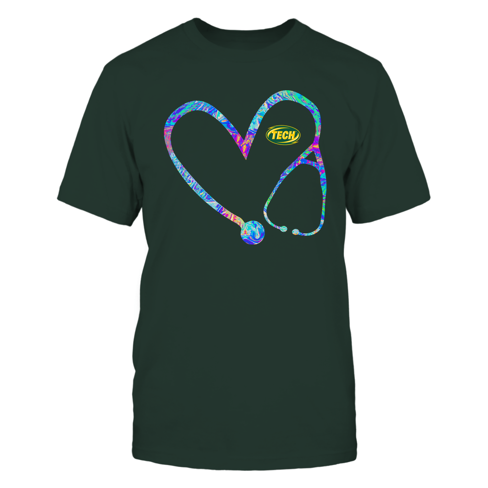 Arkansas Tech Golden Suns - Nurse - Stethoscope Heart - Rainbow Swirl Front picture