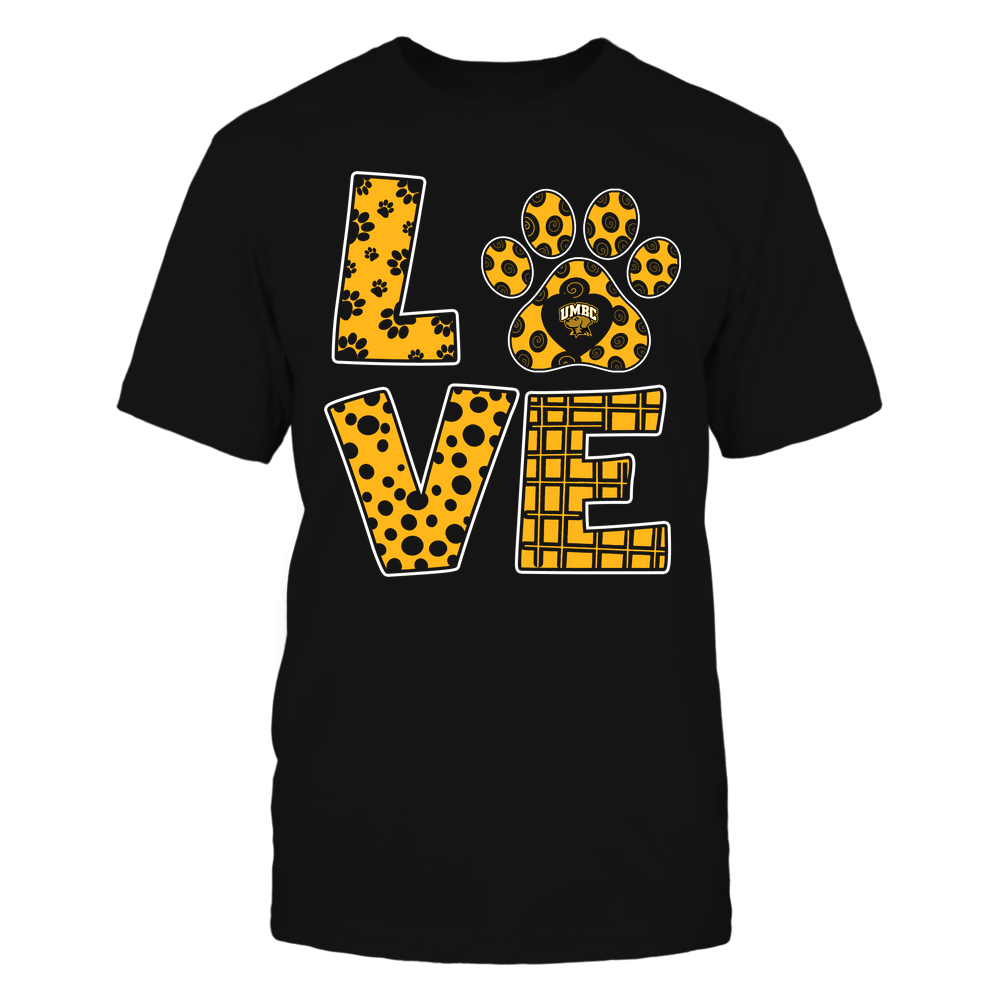UMBC Retrievers - Stacked Love Paw - Doodle Pattern - Team Front picture