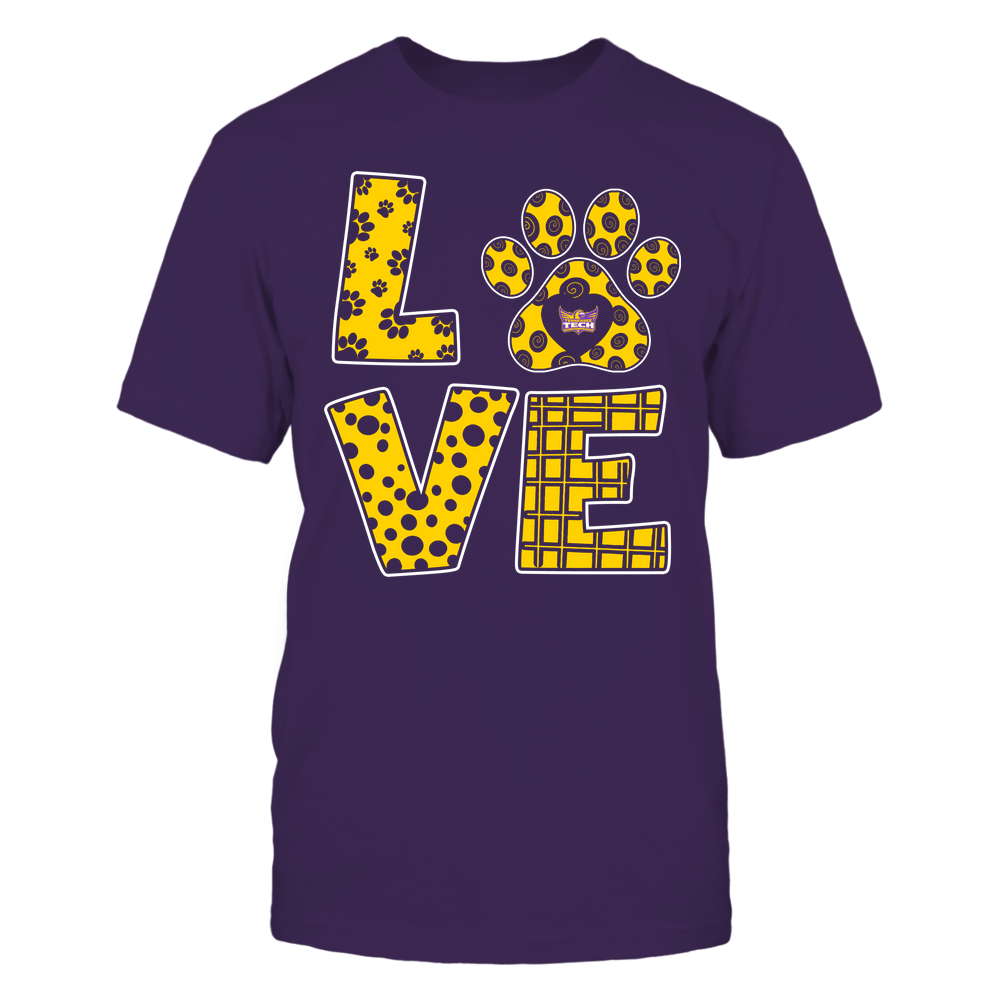 Tennessee Tech Golden Eagles - Stacked Love Paw - Doodle Pattern - Team Front picture