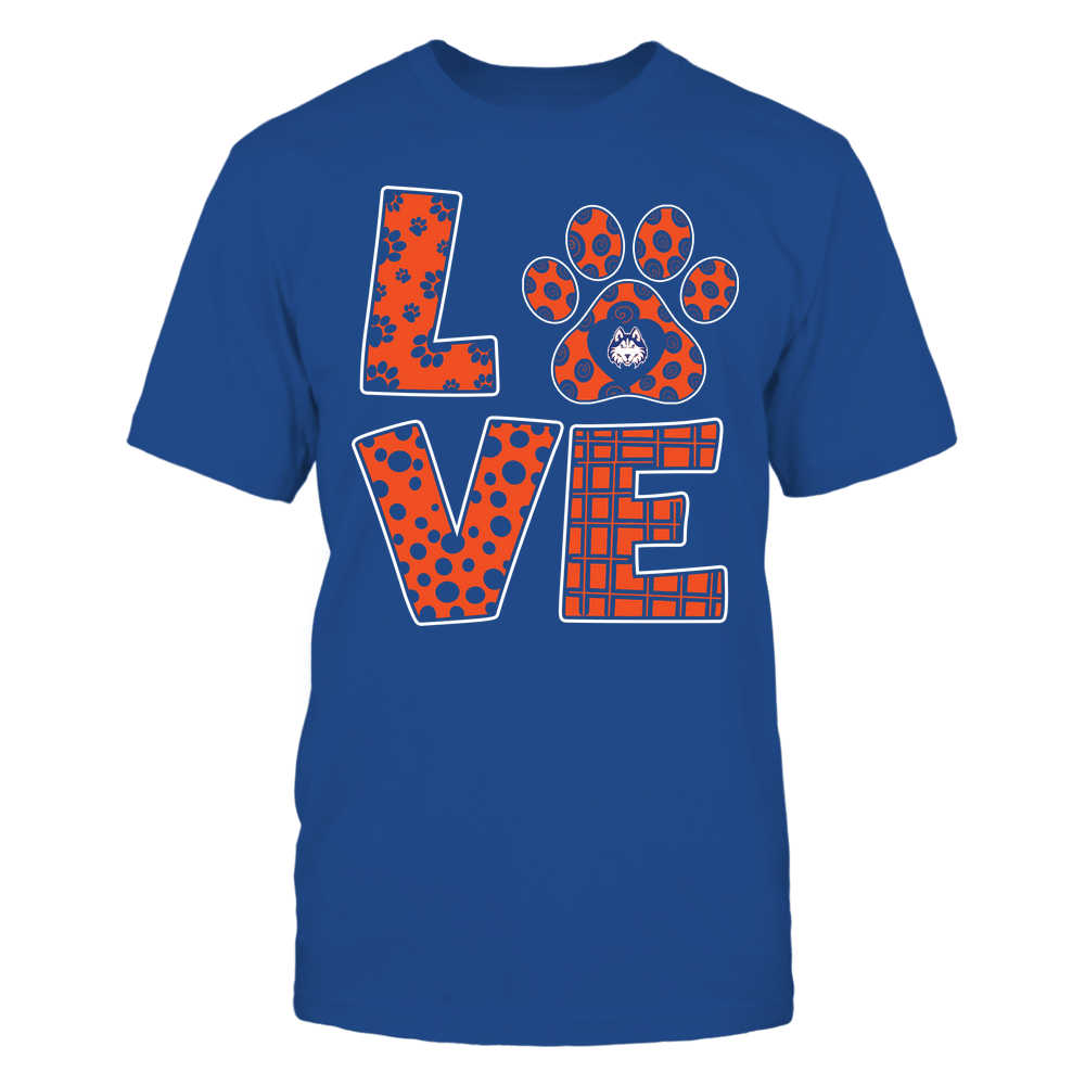 Houston Baptist Huskies - Stacked Love Paw - Doodle Pattern - Team Front picture