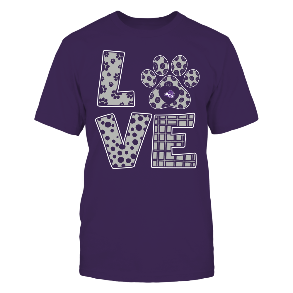 Abilene Christian Wildcats - Stacked Love Paw - Doodle Pattern - Team Front picture