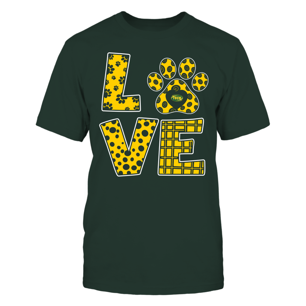 Arkansas Tech Golden Suns - Stacked Love Paw - Doodle Pattern - Team Front picture
