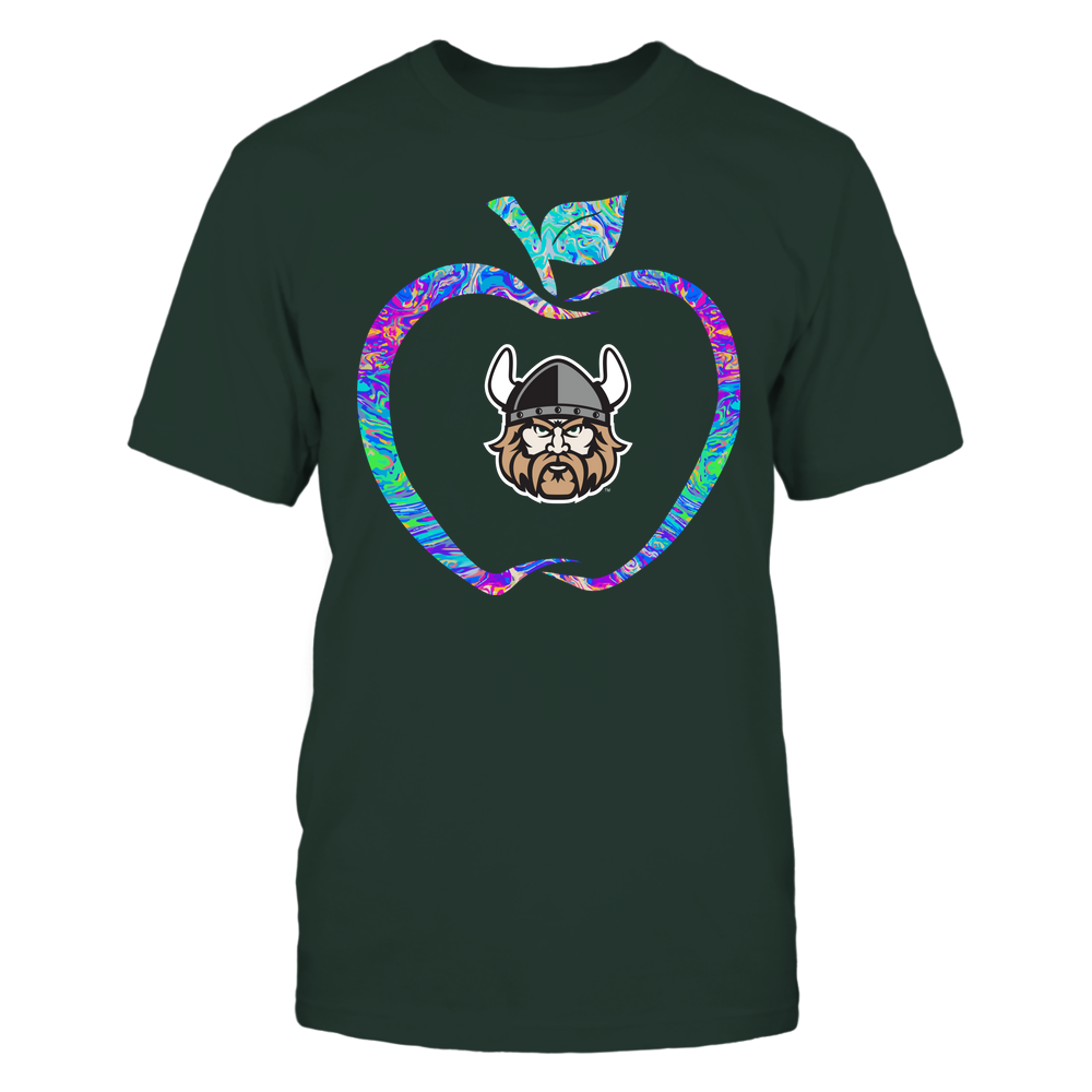 Cleveland State Vikings - Teacher - Apple Outline Rainbow Swirl - Team Front picture