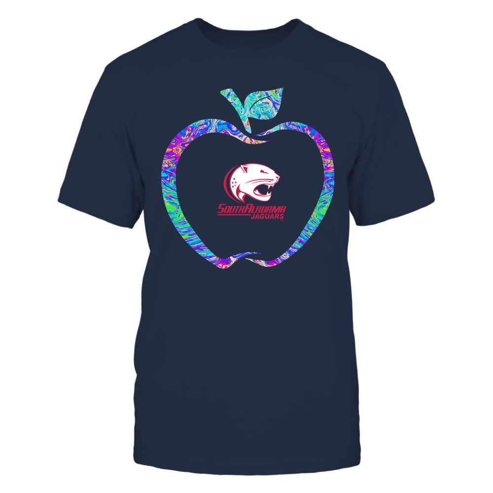 South Alabama Jaguars - Teacher - Apple Outline Rainbow Swirl - Team Front picture