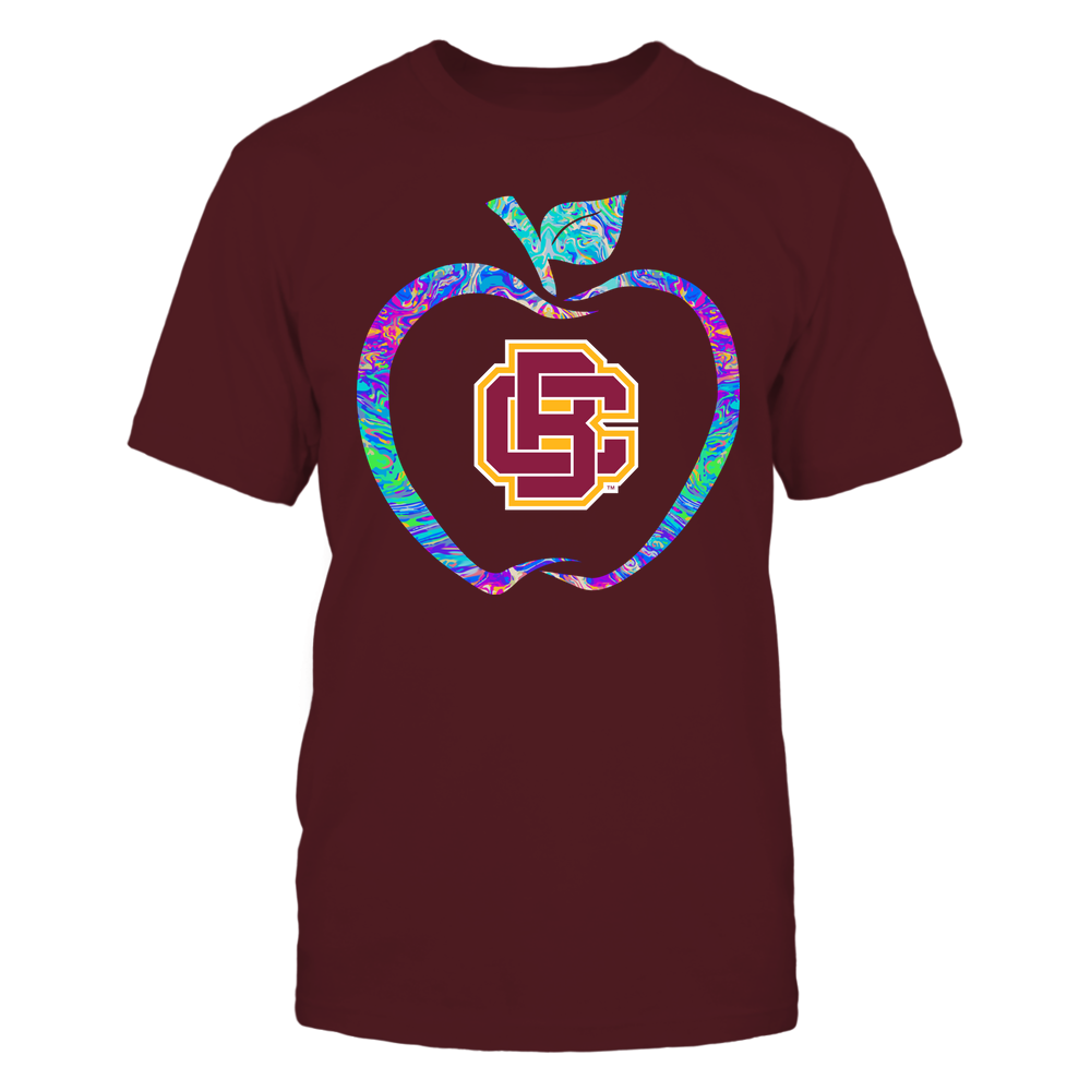 Bethune-Cookman Wildcats - Teacher - Apple Outline Rainbow Swirl - Team Front picture