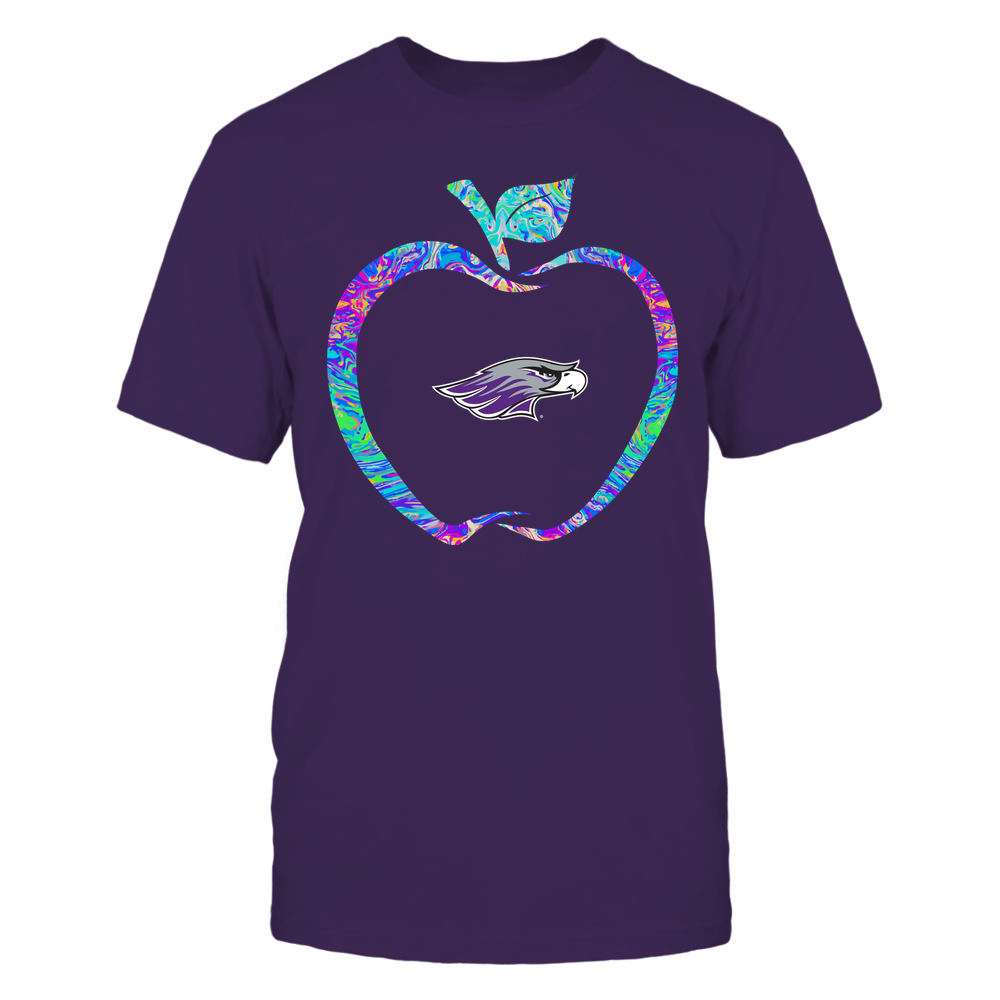 Wisconsin-Whitewater Warhawks - Teacher - Apple Outline Rainbow Swirl - Team Front picture