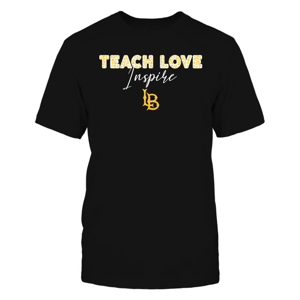 Long Beach State 49ers - Teacher - Teach Love Inspire - Leopard Swirly Font Front picture