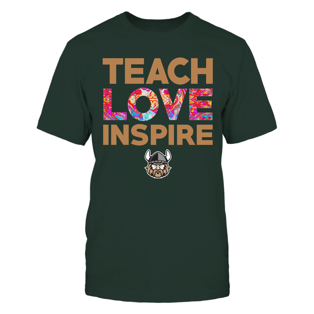 Cleveland State Vikings - Teacher - Teach Love Inspire - Rainbow Swirl Front picture
