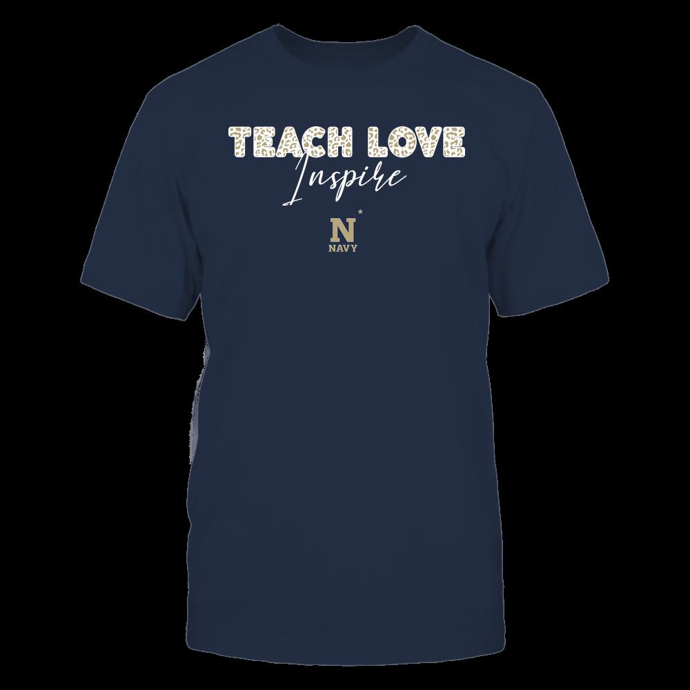Navy Midshipmen - Teacher - Teach Love Inspire - Leopard Swirly Font Front picture