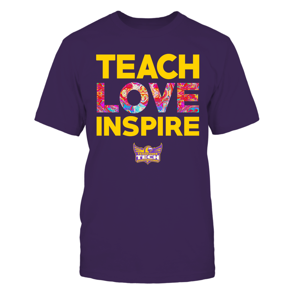 Tennessee Tech Golden Eagles - Teacher - Teach Love Inspire - Rainbow Swirl Front picture