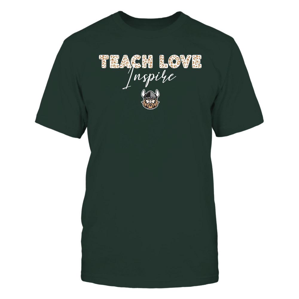 Cleveland State Vikings - Teacher - Teach Love Inspire - Leopard Swirly Font Front picture