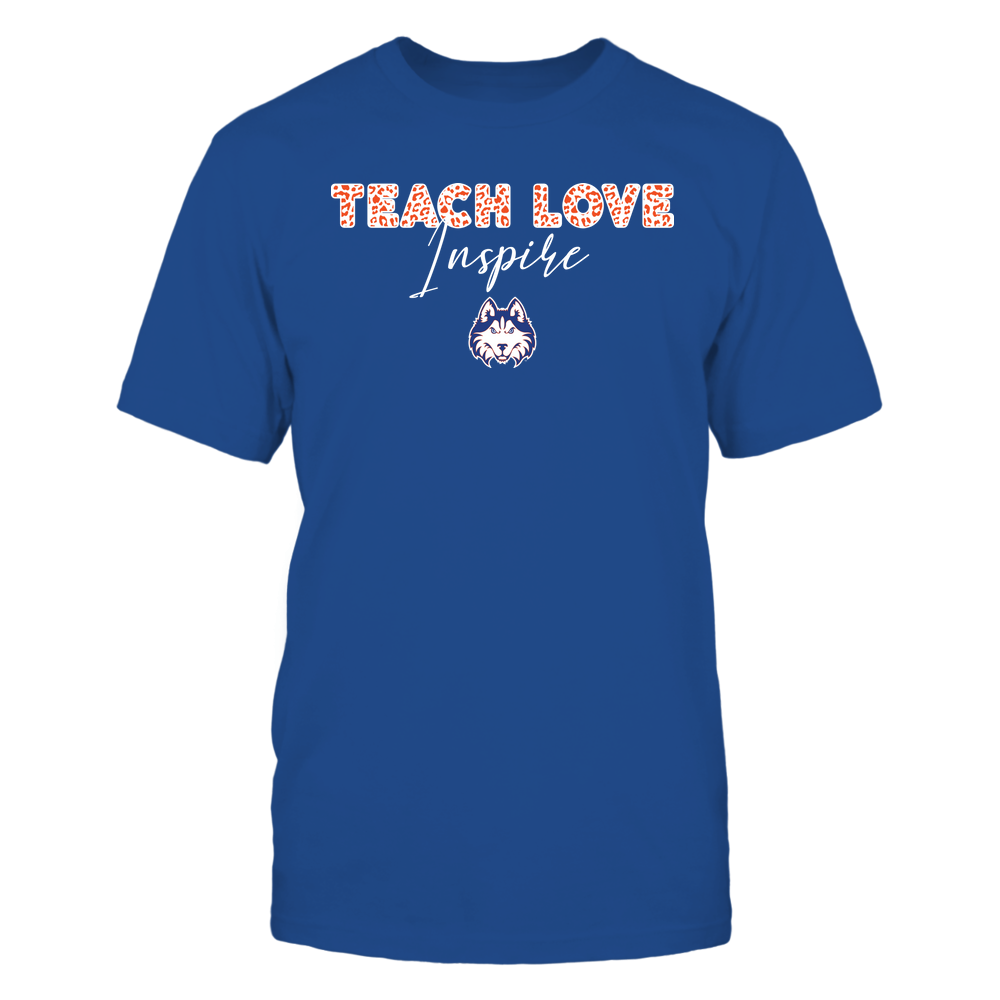 Houston Baptist Huskies - Teacher - Teach Love Inspire - Leopard Swirly Font Front picture