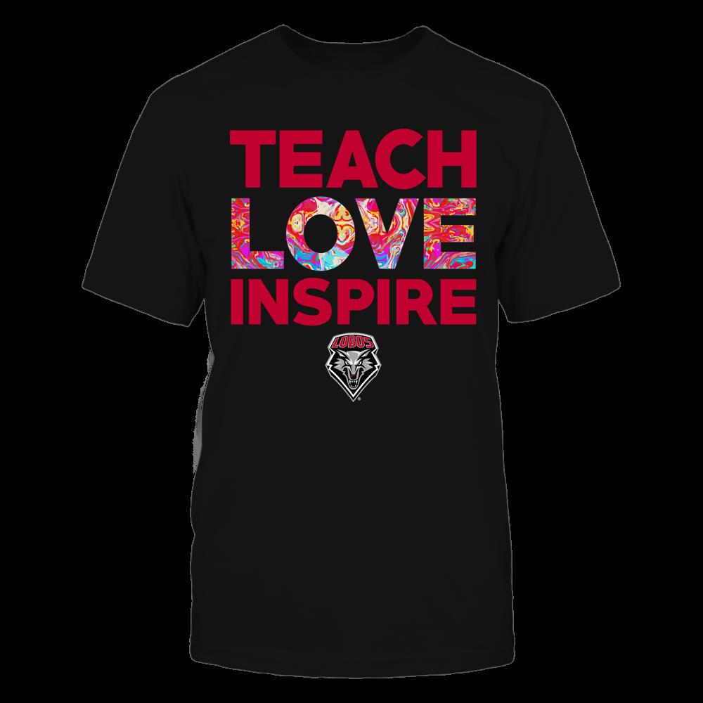 New Mexico Lobos - Teacher - Teach Love Inspire - Rainbow Swirl Front picture