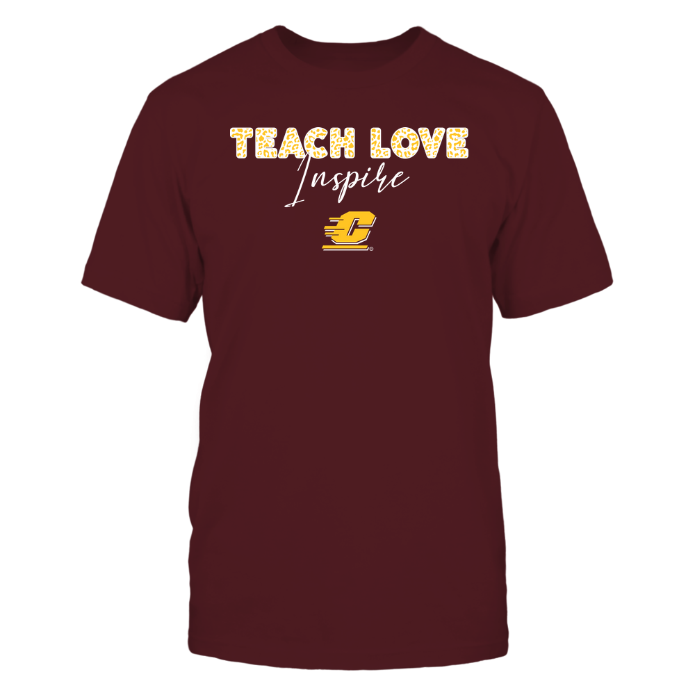 Central Michigan Chippewas - Teacher - Teach Love Inspire - Leopard Swirly Font Front picture
