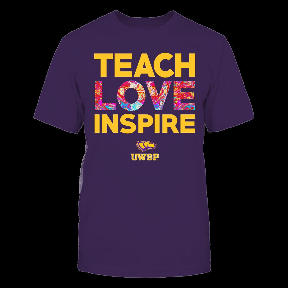 Wisconsin-Stevens Point Pointers - Teacher - Teach Love Inspire - Rainbow Swirl Front picture